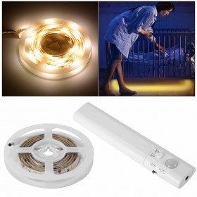 LED STRIP WIRELESS BATTERIA LUCE STRISCIA 1M PIR SENSORE MOVIMENTO ARMADIO LETTO