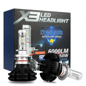 KIT LAMPADE H7 LED X3 LED HEADLIGHT 6000LM 50W LUMILEDS ZES 2G ALLUMINIO IP67