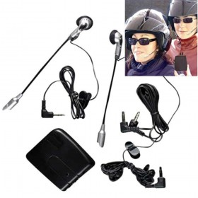 KIT INTERFONO PER CASCO MOTO COPPIA DI AURICOLARI MP3 MICROFONO AUX