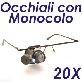 Occhiali con lente d'ingrandimento 20x