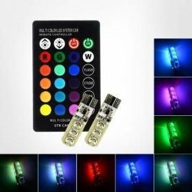 2 T10 LED RGB TELECOMANDO LUCE MULTICOLORE FARI POSIZIONI TUNING AUTO MOTO