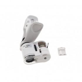 MICROSCOPIO 60x LENTE DI INGRANDIMENTO PER SMARTPHONE LUCE LED UV CLIP TASCABILE