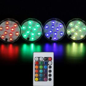 2 FARETTI LAMPADA 10 LED MULTICOLOR SUBAQUEA A BATTERIA PISCINA ACQUARIO IP 65