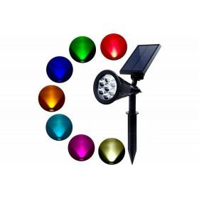 PICCHETTO FARETTO LED SOLARE 7W RGB DA GIARDINO FARO LUCE LED MULTICOLOR