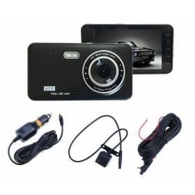 "TELECAMERA DVR FULL HD VIDEOREGISTRATORE PER AUTO 2 TELECAMERE DISPLAY 4"" GT19"